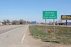 Entering Gilcrest from the south on U.S. Route 85.