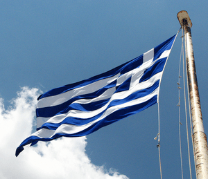 Greek flag waving