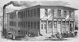 Exterior View of Walcott Brothers' Manufactory, Pawtucket