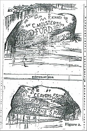 Indian Head Rock-newspaper illustration, Ports Semi-Weekly Blade, 9-22-1894