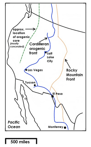 Map of Rocky Mountain Front and Cordilleran orogenic front - 2013