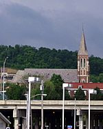 Saint John the Evangelist Church (Covington, Kentucky) - view from the east side of I-75