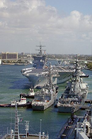 USS Enterprise (CVN 65) prepares to moor at Port Everglades
