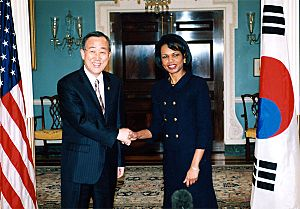 Ban Ki-moon and Condoleezza Rice