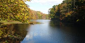 Echo Lake Park in Mountainside NJ autumnal scene
