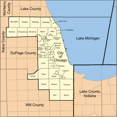 Map of Cook County Illinois showing townships