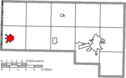 Location of Hicksville in Defiance County