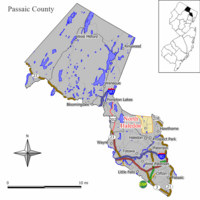 Map of North Haledon in Passaic County. Inset: Location of Passaic County highlighted in the State of New Jersey.