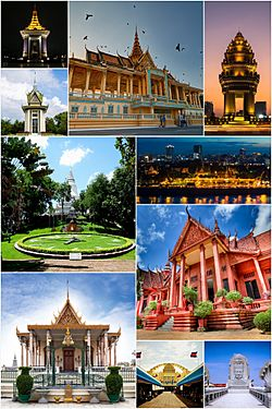 Clockwise, from top: Royal Palace, Independence Monument, Sisowath Quay, National Museum, Bayon roundabout, Central Market, Silver Pagoda, Wat Phnom, Choeung Ek and Norodom Sihanouk Memorial