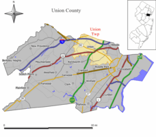 Map of Union Township in Union County. Inset: Location of Union County highlighted in the State of New Jersey.