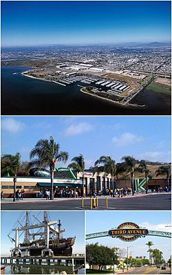 Images from top, left to right: Chula Vista Bayfront, Mattress Train Amphitheatre, HMS Surprise, Third Avenue in Downtown