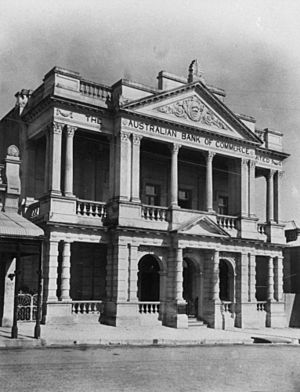 StateLibQld 1 162323 Neo-Classical facade of the Australian Bank of Commerce in Charters Towers, ca. 1920