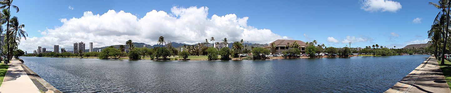 Panoramic view of the Ala Wai Canal