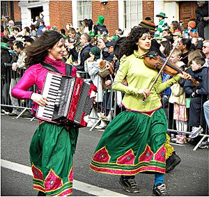 Happy Saint Patrick's Day 2010, Dublin, Ireland, Accordion Violin