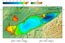 Lake Erie and Lake Saint Clair bathymetry map