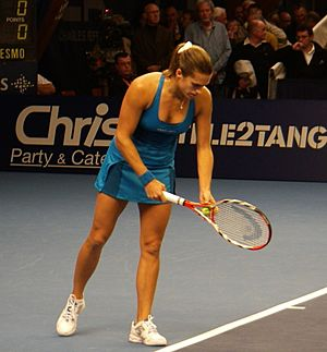 Mauresmo serving at Luxembourg