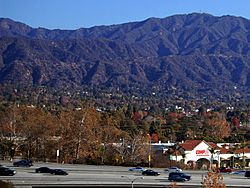 I-210 in Monrovia with San Gabriel Mountains in the background.