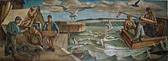 Fishermen drying a net and hauling lake trout; 1940 mural in the Sturgeon Bay Post Office.