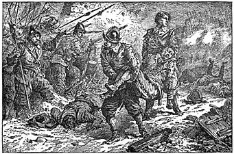 02 Malcolm's courage and humanity at the battle of Schiefelbrune-Illust by Johan Schonberg for Lion of the North by G A Henty