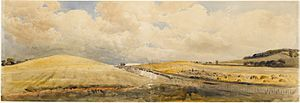 De Wint, Peter, Cornfields near Tring Station, Hertfordshire, 1847