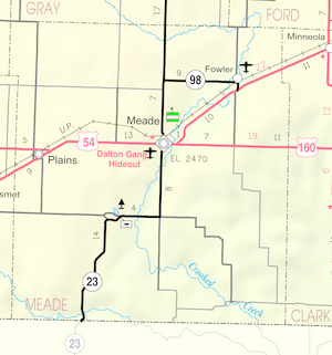 Map of Meade Co, Ks, USA