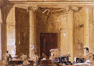 Staff clerks at work headquarters St Gratien Arthur Streeton