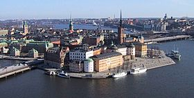 The Old town in Stockholm seen from the air