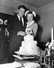Newlyweds Ronald Reagan and Nancy Reagan 1952