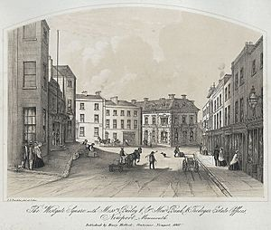 The Westgate Square with Messrs Bailey & Co. New Bank & Tredegar Estate Offices, Newport, Monmouth