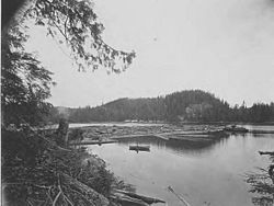 Clark and Lyford, Ltd standing boom in the southwest arm of Booker Lagoon, Broughton Island, British Columbia, June 16, 1917 (AL+CA 7778)
