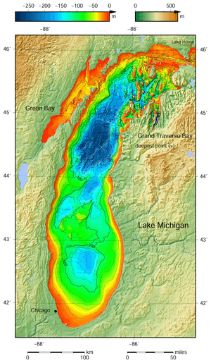 Lake Michigan bathymetry map