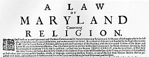 Large Broadside on the Maryland Toleration Act