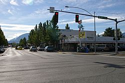 Downtown North Bend. Twede's Cafe from Twin Peaks is on the right.