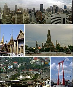 Clockwise from top: Si Lom – Sathon business district, Wat Arun, Giant Swing, Victory Monument, and Wat Phra Kaew