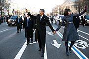 Barack Obama and Michelle Obama in inaugural parade 01-21-13