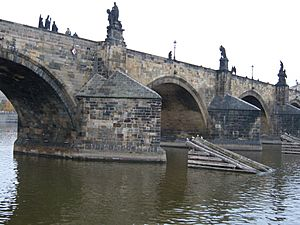 Charles Bridge arches from the Vltava River 2