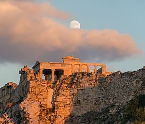 Erechtheum Acropolis Athens evening moon