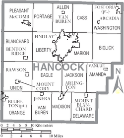 Map of Hancock County Ohio With Municipal and Township Labels