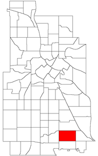 Location of Keewaydin within the U.S. city of Minneapolis