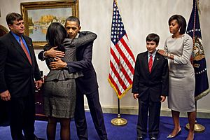Obama and family of Christina Taylor Green 2011