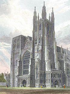 Canterbury Cathedral, view of the Western Towers engraved by J.LeKeux after a picture by G.Cattermole, 1821 edited