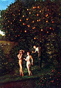 Lucas Cranach (I) - Adam and Eve-Paradise - Kunsthistorisches Museum - Detail Tree of Knowledge