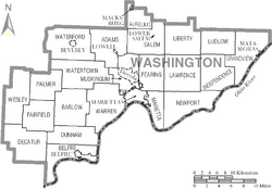 Map of Washington County Ohio With Municipal and Township Labels