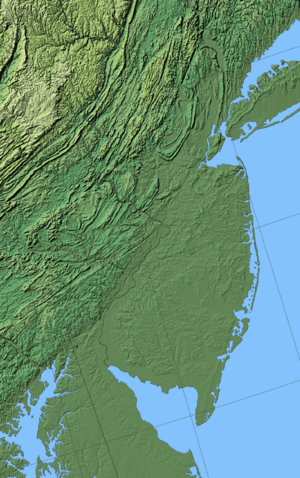 New Jersey shaded relief map