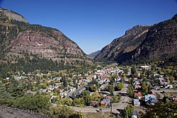 Ouray, Colorado looking north from Highway 550