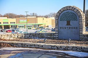 Welcome sign, Westwood, Kansas