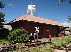 The old Westbrook Depot and water tower