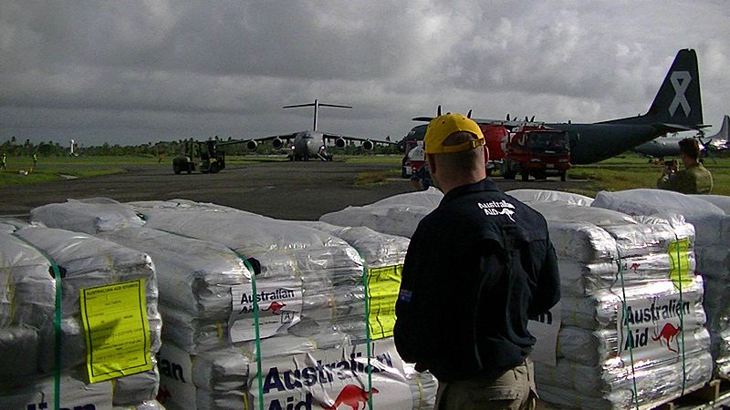 Relief supplies being loaded for Cyclone Winston