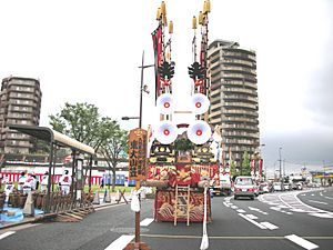 Tobatagion Floats with decorated flags