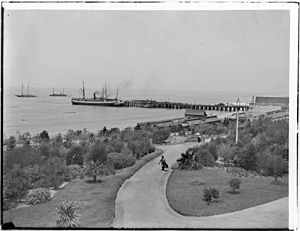 View of Redondo Beach Pier and railroad station from the Redondo Hotel, whose garden is also seen, ca.1900 (CHS-1371)